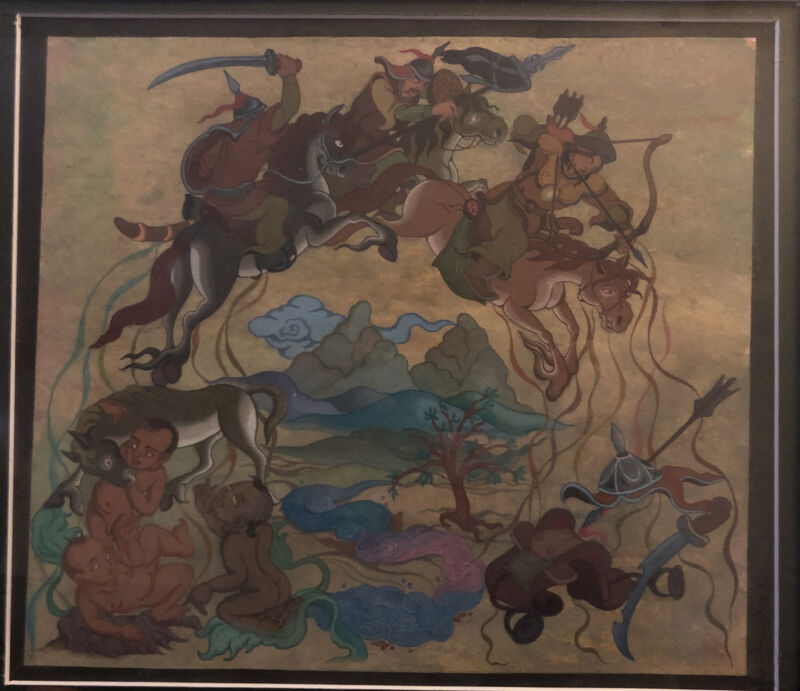 Original Mongolian Warrior Painting