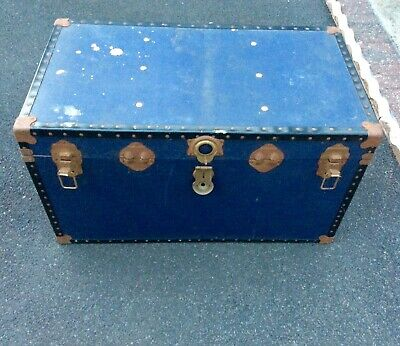 Vintage Overpond Trunk Chest Suitcase Blue Storage DIY Project Coffee Table etc