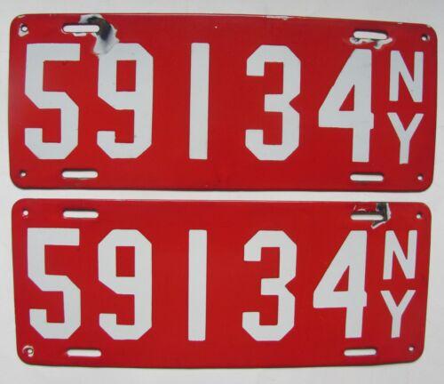 1912 New York porcelain car license plates ORIGINAL SET