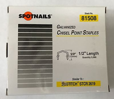 "Spotnails 1/2"" Galvanized Chisel Point Staples (STCR2619 type) 81508 5M"