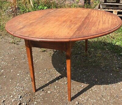 ANTIQUE HAND MADE PITCH PINE ROUND TABLE - DROP LEAVES 48
