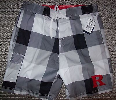 Rutgers Scarlet Knights Swimsuit Trunks Clearout S  M  L  Xl  2X Gray   White
