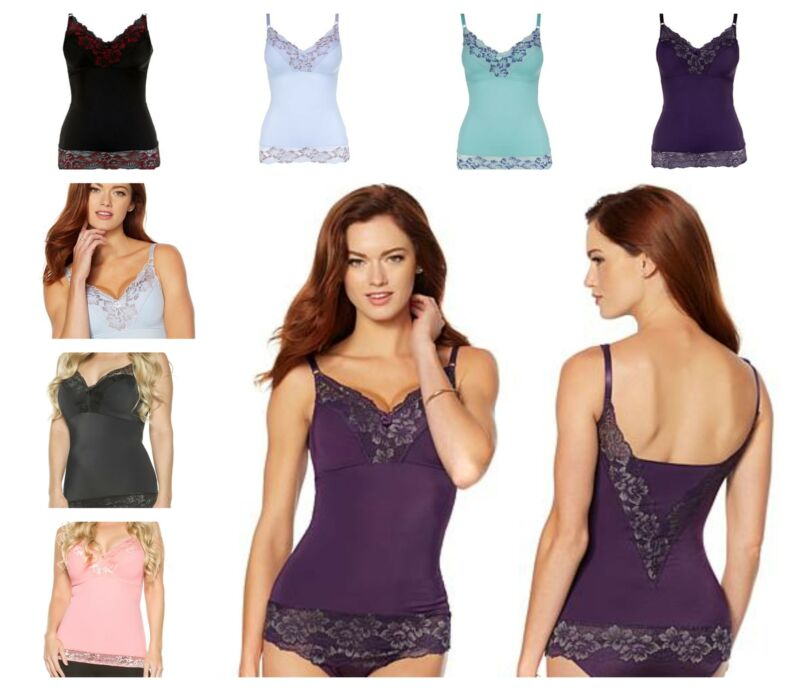 New, Rhonda Shear Pin Up Smoothing Tank with Built in Bra 6674