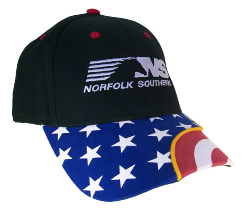 Norfolk Southern Railroad Flag Bill w/Ribbon Embroidered Cap Hat #40-0068FS