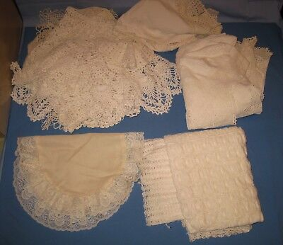 Lot 20 VTG Ecru/White/Lace DOILY/Table Scarf/Tablecloth Pineapple + Craft/Use