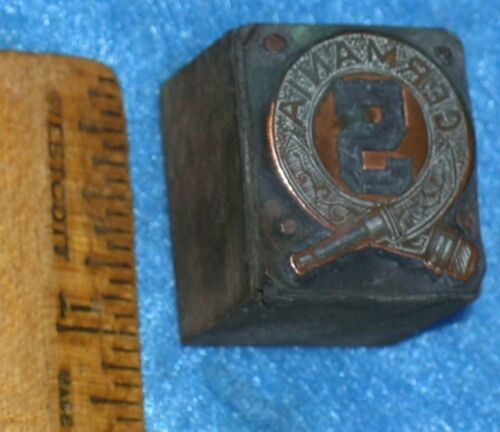 Antique Copper Printing Block GERMANIA No 5 Crossed Hose FIRE BADGE