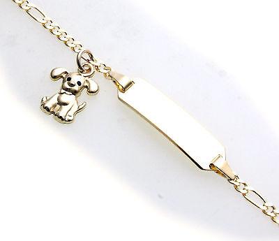 Armband Kinder 14cm echt Gold 333 Hund Figarokette incl. Gravur ID Band Gelbgold