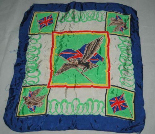 Vintage UK Union Jack Flag Eagle Bird Scarf United Kingdom Royal Blue Mint