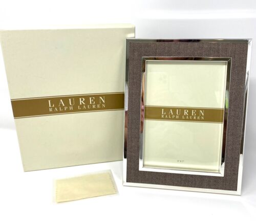 """RALPH LAUREN Picture Frame Knotting Hill 5"""" x 7"""" Silverplate ~ NEW in BOX"""
