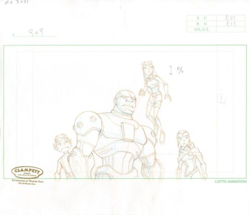 Teen Titans GROUP Production Cel Layout Drawing Warner Brothers 2003-2006