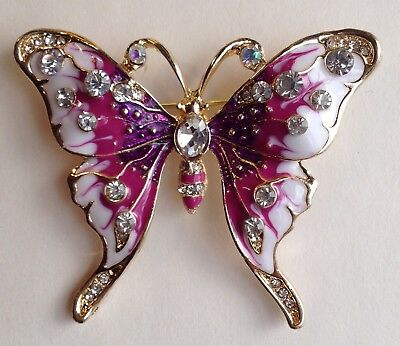 BUTTERFLY BROOCH PIN - Purple White Enamel w/ Inlay Crystals / Gold-tone