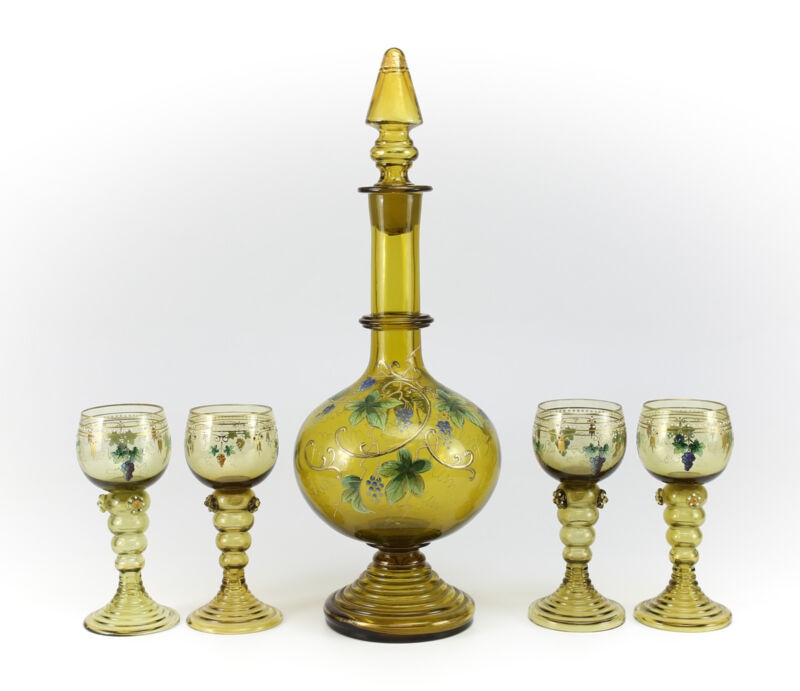 5pc Theresienthal Green Decanter & Goblets Enamel Painted Glass 20th Century