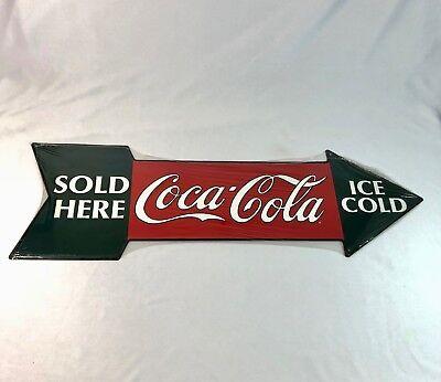 "NOS Vtg 1990 Coca Cola Sold Here Tin Sign Die Cut Arrow 27"" x 8.5"" Sealed Unused"
