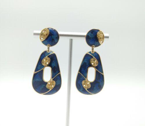 Vintage Cloisonne Blue Gold Tone Metal Enamel Dangle Drop Pierced Earrings
