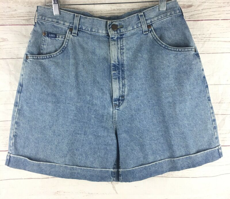 VINTAGE LEE Medium Wash High Waisted Rise Size 16 Mom Denim Jean Shorts Cuffed