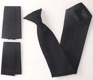 NEW - SECURITY Black CLIP ON Tie - Matte + Epaulettes