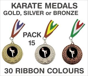 PACK-OF-15-75p-each-Karate-Medals-Budget-Ribbon-Metal-50mm-Ref-GMM7050-MR1