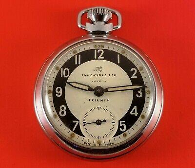 Vintage Ingersoll Triumph Pocket Watch #598EM London 50mm Diameter Case