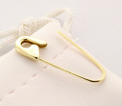 18K Yellow Gold Safety Pin Brooch Earring 1