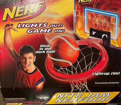 Nerf Nite Jam Nerfoop Light Up Glow in the Dark Basketball Game New