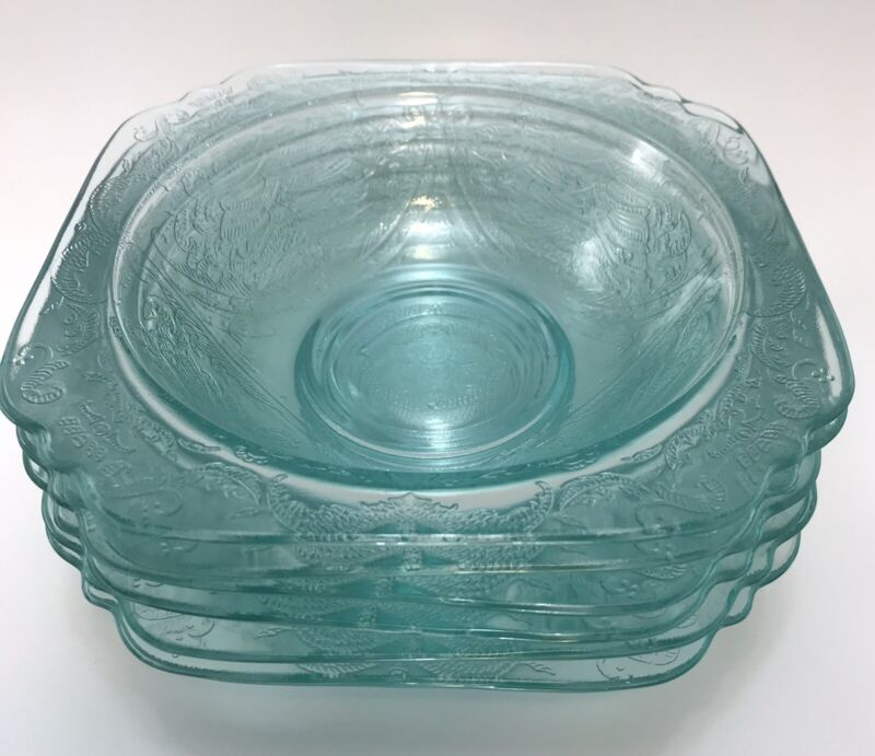 "6 Vtg Aqua Teal FEDERAL Pressed Glass MADRID New Recollection  7"" Cereal Bowls"