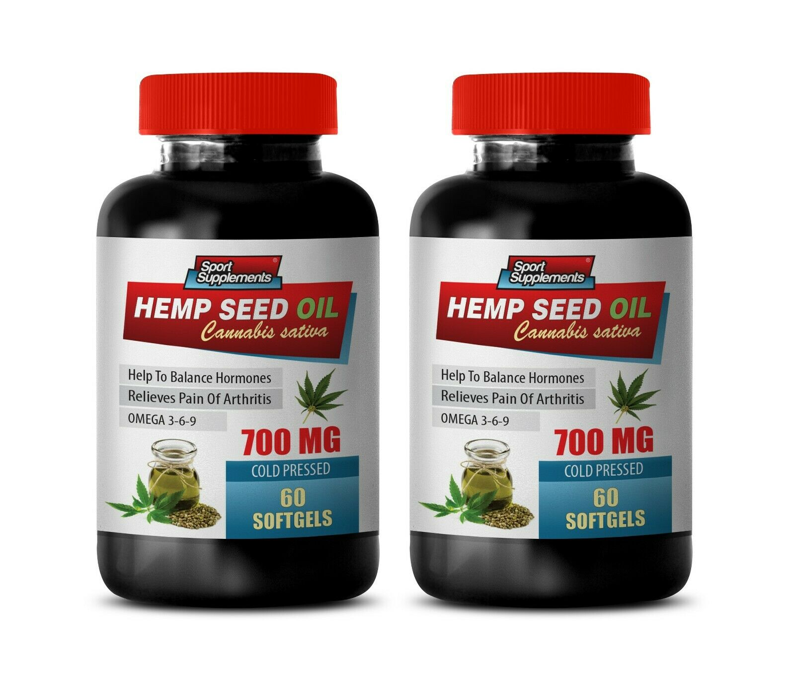 omega 3 6 9 - HEMP SEED OIL 700mg - women hormone balance - 2 Bottles
