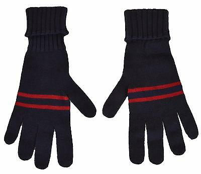 New Gucci Men's $175 294732 Blue Wool Red Web Stripe Gloves Mittens M