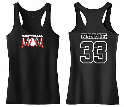 Baseball Softball Tank Top - SOFTBALL MOM RACERBACK TANK TOP SHIRT BASEBALL PERSONALIZED