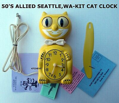 1950's ALLIED-KIT CAT KLOCK-KAT CLOCK -ELECTRIC-ORIGINAL-VINTAGE-ANTIQUE-USA-50s