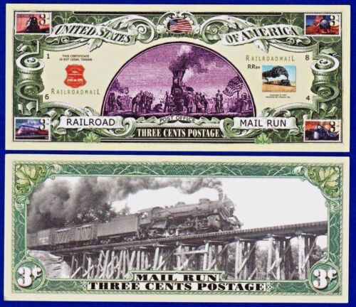 1-US POSTAL 3 CENT  Railroad  Dollar Bill-Novelty  - FAKE-Note- MONEY-Mail -W2