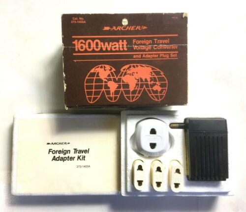 Vintage Archer 1600 Watt Foreign Travel Voltage Converter & Adapter Plug Set