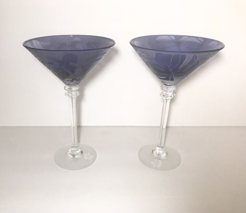 Michael Weems For Tommy Bahama Blue Martini Glasses Hibiscus & Palm Leaves