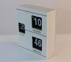 Retro-Inspired White Wooden Book-Shaped Flip Clock