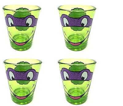 Set of 4 Teenage Mutant Ninja Turtles Donetello Glitter Mask Tinted Shot Glass