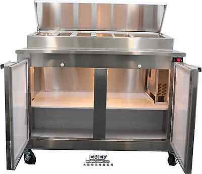 Coolman Commercial 2- Door Refrigerated Pizza Prep Table Top 48back Motor