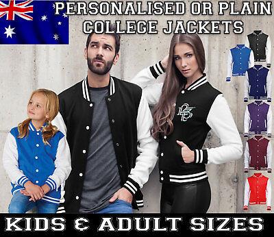 Personalised Custom College Varsity Jacket Baseball KIDS ADULTS birthday gift