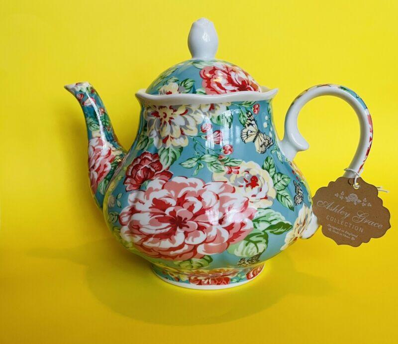 New Kent Pottery Ashley Grace Collection Teapot Floral Pattern ~ 36oz