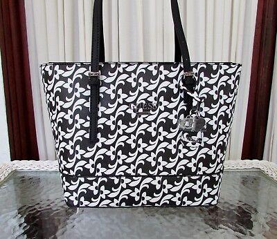 GUESS Decimals Shoulder Bag Tote Black White Purse Floral NWT