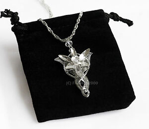 LOTR Lord Of The Rings Hobbit Arwen EVENSTAR Necklace Pendant Silver + Gift Bag
