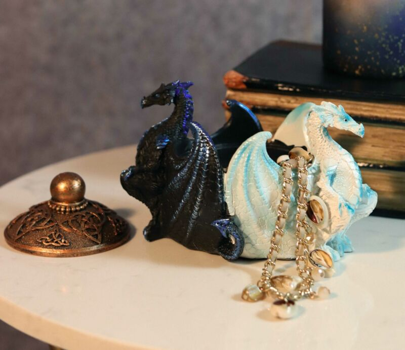 Ebros Gift Night And Day Contrasting Dual Dragons Decorative Trinket Jewelry Box