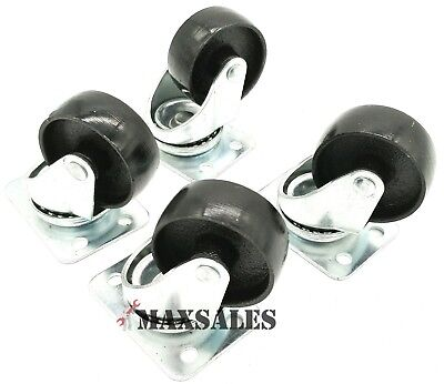 Qty-4 2 Swivel Metal Caster Wheels Base With Top Plate Bearing