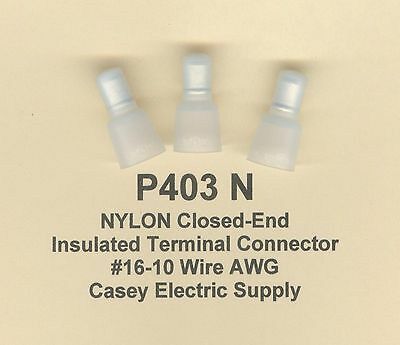 50 Nylon Insulated Closed End Terminal Connectors 16-10 Wire Gauge Awg Usa