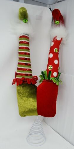 "New Christmas Elf Legs Tree Topper Decoration Red Green 20"" Adjustable"