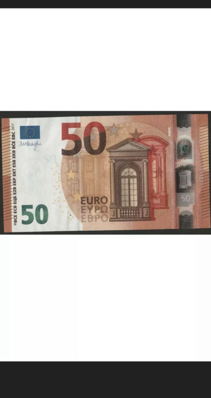 50 Euro Cir Banknote. 50 Euros Bill. EU Circulated Banknotes Good Condition. Z