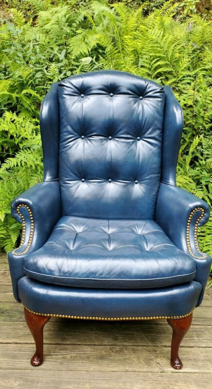 ~RARE~Hancock Moore Vintage Custom High End Leather Tufted Chair~ESTATE FIND!!!!
