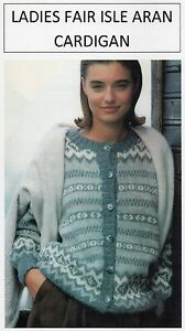 VINTAGE KNITTING PATTERN - LADIES FAIR ISLE CARDIGAN - ARAN - LAMINATED