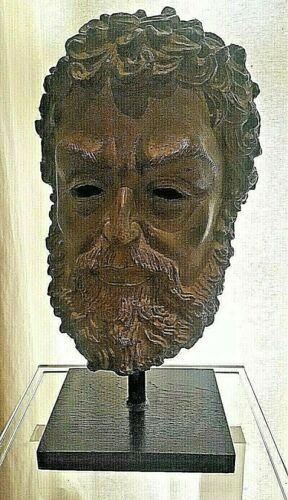 ANCIENT GREEK PHILOSOPHER PLATO BRONZE SCULPTURE BUST, STATUE