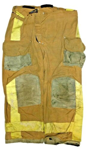 44x29 Janesville Lion Brown Firefighter Turnout Pants Yellow No Liner PNL-28
