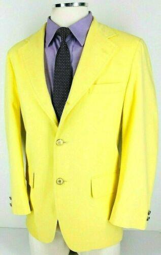 40R* Jos A Bank Mens Vintage 100% Linen 3 Button Sport Coat Pale Yellow Mint!