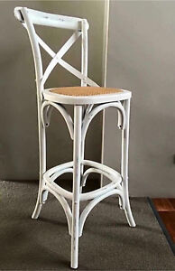 PAIR OF TWO BRAND NEW HAMPTON'S STYLE WHITE CROSS X BACK BAR STOOLS Casuarina Kwinana Area Preview